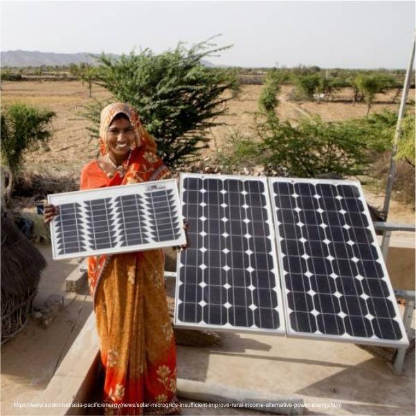 Women holding solar panel